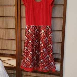 Red dress with sequins skirt size 16 justice